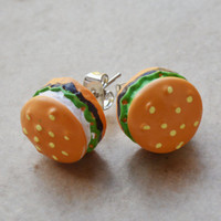 Hamburger post stud earrings miniature food jewelry