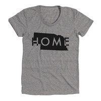 Nebraska Home Womens Athletic Grey T Shirt - Graphic Tee - Clothing - Gift