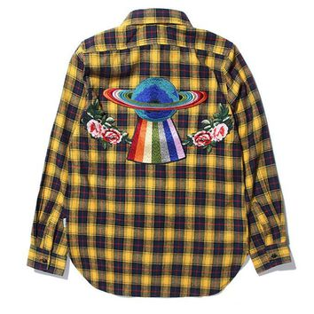 GUCCI Newest Fashion Women Men Casual Back Flower UFO Embroidery Long Sleeve Plaid Shirt Top Cardigan Jacket Coat Yellow I13831-1