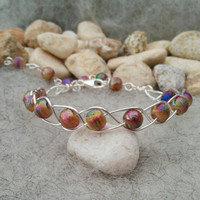 Colourful Bracelet, Glitter Glass Bead Bracelet for her, Silver Plait Jewellery