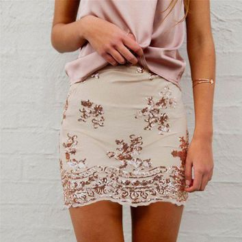 DCCKJ1A New fall fashion Slim sequined embroidery A word skirt sexy package hip skirts women