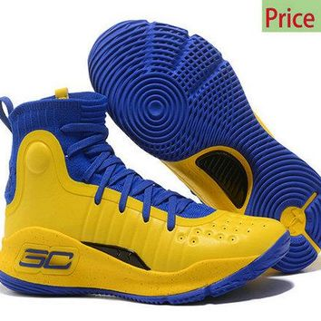 Authentic 2018 Mens Under Armour Curry 4 Mid Basketball Shoes Royal Blue Lemon Yellow sneaker