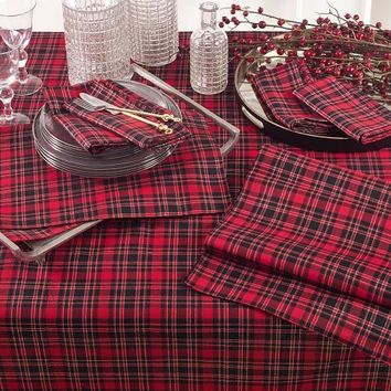 Saro Life Style Highland Holiday Plaid Collection Tablecloth - 2669