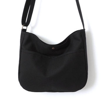 Canvas Hobo Bag Crossbody Bag Slouch Bag Purse Black