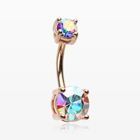 Rose Gold Aurora Sparkle Prong Set Belly Button Ring