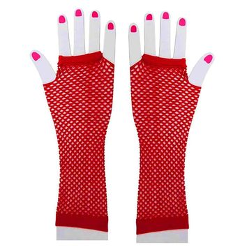 1980s Accessories  Fingerless  Fishnet Neon Gloves Fit Most Teens