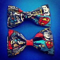 DC Comics Vintage Superman print handmade fabric bow tie or hair bow