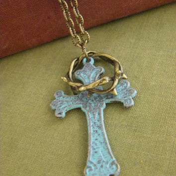 Patina Verdigris Cross Crown of Thorns Necklace rustic inspiration christian religious