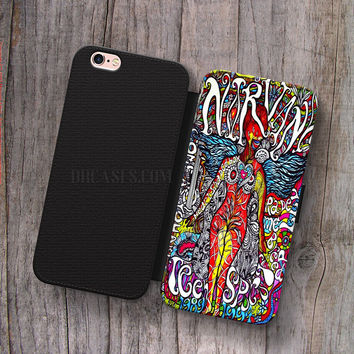 Wallet Leather Case for iPhone 4s 5s 5C SE 6S Plus Case, Samsung S3 S4 S5 S6 S7 Edge Note 3 4 5 nirvana collega art Cases