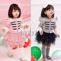 Children's Sets/Baby Sets/2014 Princess Long Sleeve Autum Girls Coat Jacket+Tutu Skirt 2 pc set/Children's clothing