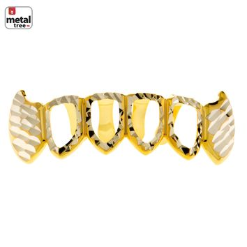 Jewelry Kay style Men's Diamond CUT Grillz Fang Four Open Face Gold Plated Teeth Bottom S020 4F C4