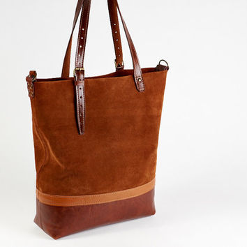 Light brown suede tote bag with pull-up brown leather bottom.