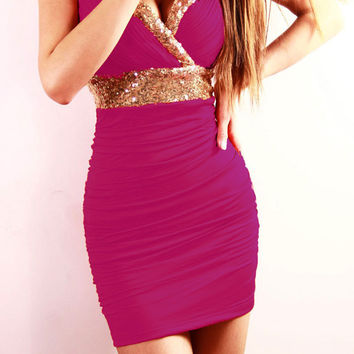 Pink Sequined V-Neck Ruched Bodycon Dress