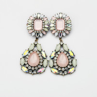 Alloy Stone Diamond Flower Women Earrings
