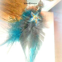 Starfish Feather Earrings,Long Teal Grey Feather Earrings with Glass Starfish Charms,Wild Gypsy Jewelry,Festival Feathers,Direct Checkout