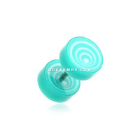 A Pair of Swirl Circles Solid Acrylic Fake Gauge Plug Earring (Teal)