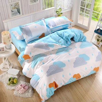 Duvet Cover/ Sheet / Pillowcase Set Rainy Clouds