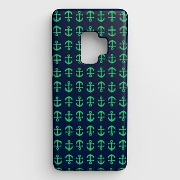 Anchor Toss Cell Phone Case Galaxy S9 - Green on Navy