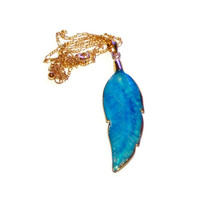 Blue Agate Necklace, Chain With Leaf Pendant, Dragon Veins Agate Necklace On Gold Chain