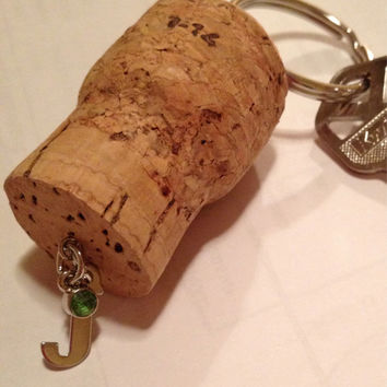 Champagne Cork Keychain Letter J Initial with Green Charm