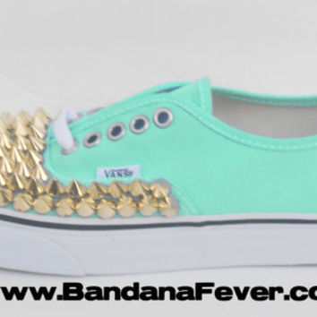 Bandana Fever Custom Studded Vans Authentic Pool Green Gold Round Pyramid Studs