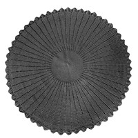 "Mode Crochet 43"" Round Rug, Charcoal"