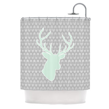 "Pellerina Design ""Winter Deer"" Gray Green Shower Curtain"