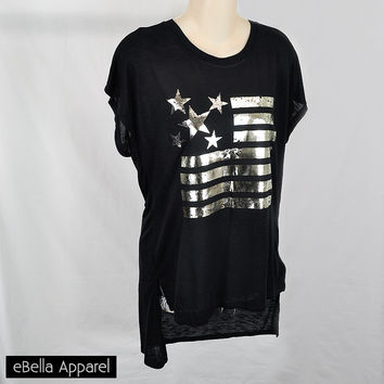 American Flag w/ Paisley - Womens Black High Low, Short Sleeve Plus Size, Graphic Print Shirt