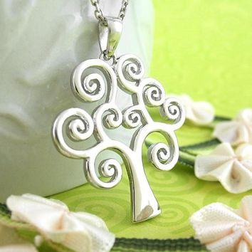Lighthearted Tree of Life Necklace with Swirls