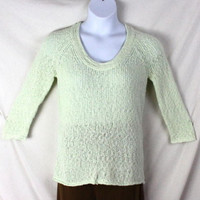 J Jill Sweater Pm Petite M size Green Lightweight 3.4 Sleeve Loose Knit Womens