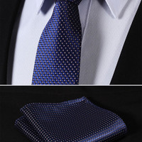 "TC1001K7 Pink Navy Blue Check 2.75"" 100%Silk Woven Slim Skinny Narrow Men Tie Necktie Handkerchief Pocket Square Suit Set"