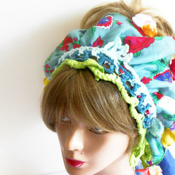 Hair Bandana, Flower Hair Band, Handmade Headband, Crochet headband, Ethnic headband, spring summer accessory, girls headband