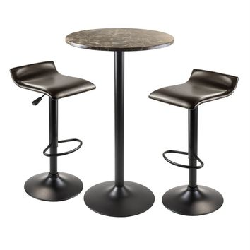 Unique Styledecora 3pc Round Pub Table with 2 Swivel Stools by Winsome Woods