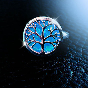 Tree Of Life ring,  Australian opal ring, Lab created opal ring, blue opal ring, large opal ring, gemstone ring, boho ring, fire opal ring