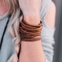 Sliced Wide Leather Cuff -Brown