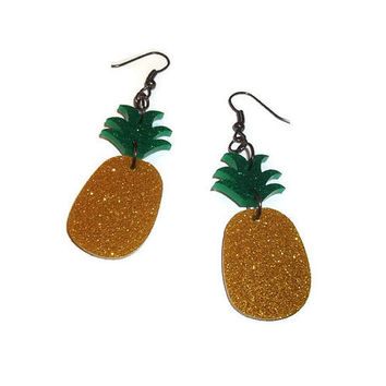 Pineapple Earrings Kitsch Fruit Dangle Earrings, Glitter, Laser Cut Acrylic Perspex Quirky