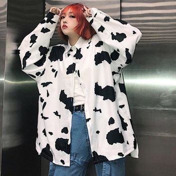 Women's Clothing Autumn harajuku New Coats loose BF Single Breasted Jackets cow print ulzzang Turn-down long Sleeve Jackets