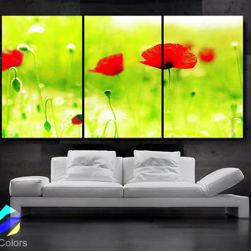 "LARGE 30""x 60"" 3 Panels Art Canvas Print beautiful Poppies Flowers Floral Red Green Yellow Wall Home (Included framed 1.5"" depth)"