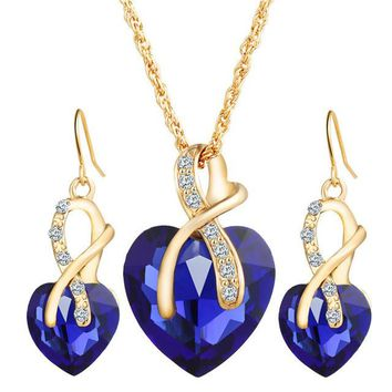 Love Police Crystal Heart Necklace & Earrings Jewelry Set For Women