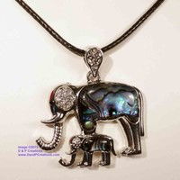 Silver Tone Elephant and Calf Pendant with Abalone Paua Shell Necklace Cord