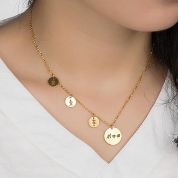 WAWFROK Classic Trendy MOM Daughter Son Pendant Necklaces Women Choker Stainless steel Charm Wedding Heart Pendants Jewelry Gift