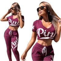 2 piece set women suit fitness outfit crop top pants female sweatshirt pants workout Sports Yoga SetsLong track suit Pink letter tracksuit
