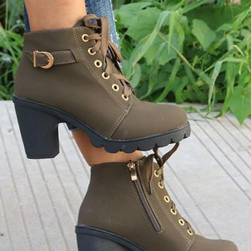 New Women Dark Green Round Toe Chunky Zipper Casual Ankle Boots