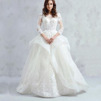 Long Sleeve Ball Gown Wedding Dress Lace Bridal Gown