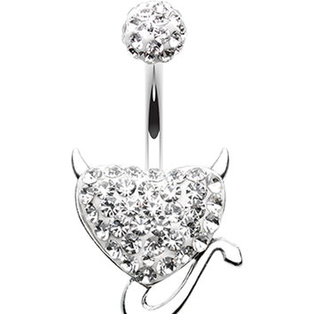 Devil's Heart Sparkling Belly Button Ring