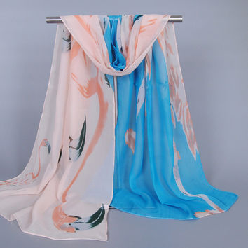 2016 fashion printe animal birds ombre scarf/shawls long chiffon silk rainbow wrap muslim autumn scarves/shawls XQ200