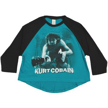 Nirvana  Kurt Cobain Water Guitar Photo Raglan Girls Jr Jersey Black/Sea
