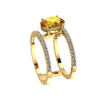 Fancy Diamond 14K Yellow Gold Band With Yellow Citrine Center - V1052