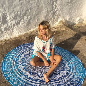 Cupshe Blue Lotus Tapestry