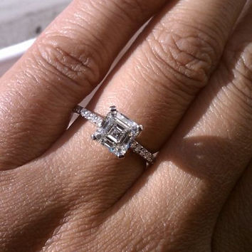 A Perfect Art Deco 3.3CT Asscher Cut Solitaire Russian Lab Diamond Engagement Ring